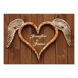 Country Rustic Monogram Branch Wood Wedding Card