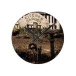 Rustic Kitchen Garden Round Wall Clocks