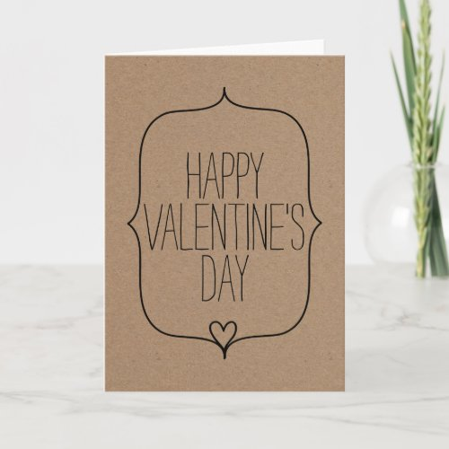 Rustic Kraft Paper Cute Heart Happy Valentines Day Holiday Card