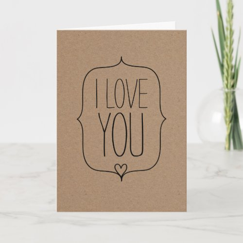 Rustic Kraft Paper Cute Heart Valentines Day Holiday Card