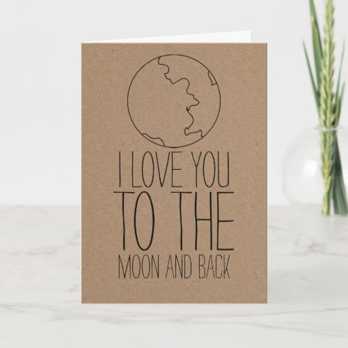 Rustic Kraft Paper Cute Moon Valentines Day Holiday Card