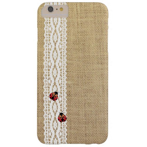 Rustic Lace & Burlap Ladybugs Barely There iPhone 6 Plus Case