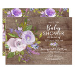 Rustic Lavender Floral BABY Shower Invitations