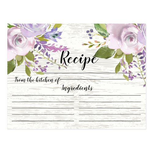 Rustic Lavender Watercolor Floral Recipe Card