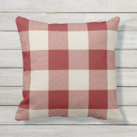 Rustic Maroon and Beige Buffalo Check Plaid Throw Pillow