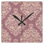 rustic,maroon,coral pink,damasks,victorian,chic,el square wallclocks
