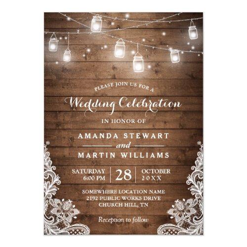 Rustic Mason Jar String Light Lace Country Wedding Invitation