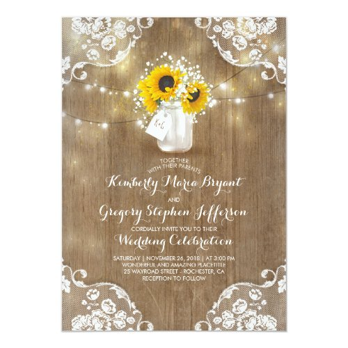 Rustic Mason Jar Sunflower Wedding Invitation