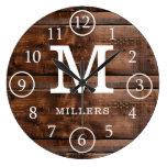 Rustic Monogrammed Dark Brown Wood  Family Name Large Clock