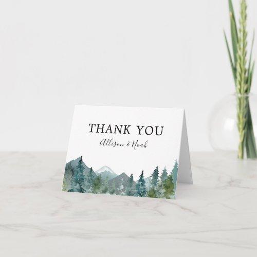Rustic mountains outdoor theme wedding thank you card