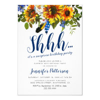 Rustic Navy Sunflower Surprise Birthday Party Card