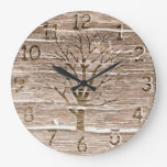 Rustic Oak Artwork with Tree 2 Wallclock