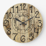 Rustic Personalized Brown Wood Capture Each Moment Large Clock