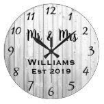 Rustic Personalized Gray Wood Custom Large Clock