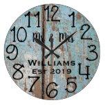 Rustic Personalized Teal Distressed Wood Custom Large Clock
