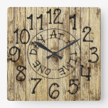 Rustic Personalized Wood One Day at a Time Square Wall Clock