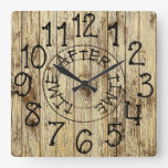 Rustic Personalized Wood Time After Time Square Wall Clock