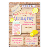 Rustic Pink Lemonade Birthday Party Invitations