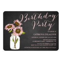 Rustic Pink Sunflowers Birthday Party Invitation