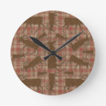 Rustic plaid brown moose round wallclock