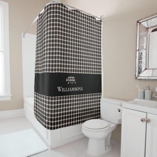 rustic plaid monogram bear cream white black shower curtain zazzle com
