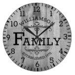 Rustic Plank Wood Anniversary Family Name Custom Large Clock