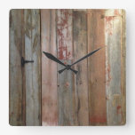 rustic primitive western country farm barn wood square wall clock