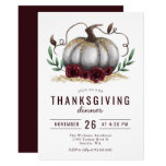 Rustic Pumpkin Burgundy Gold Thanksgiving Dinner Invitation