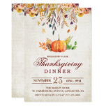 Rustic Pumpkin Fall Thanksgiving Dinner Invitation