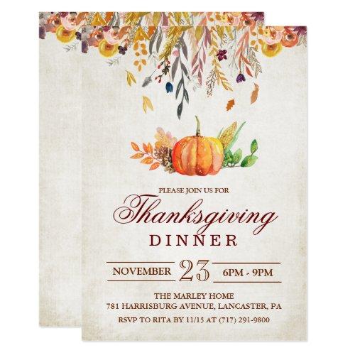 Rustic Pumpkin Fall Thanksgiving Dinner Invitation
