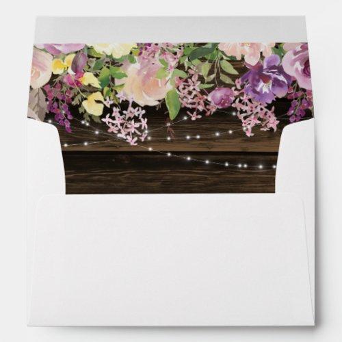 Rustic Purple Floral String Lights Return Address Envelope