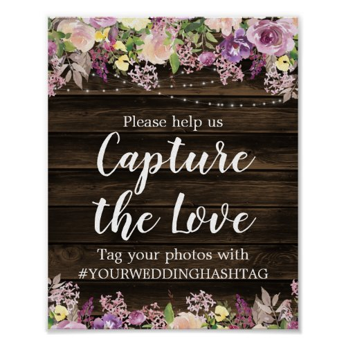 Rustic Purple Floral String Lights Wedding Hashtag Poster