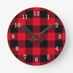 Rustic Red and Black Buffalo Plaid Round Clock