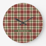 Rustic Red and Green Tartan Plaid Monogram Large Clock