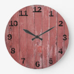 Rustic Red Weathered Barn Board Large Clock