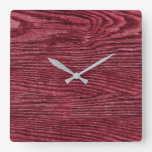 Rustic Red Weathered Wood Square Wall Clock