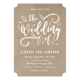 Rustic Romance Faux Kraft Paper Wedding Invite