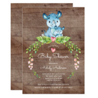 RUSTIC Safari Jungle Hippo Baby Shower Invitation