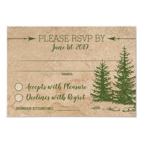 Rustic Scenic Mountain Range Wedding  RSVP Invitation