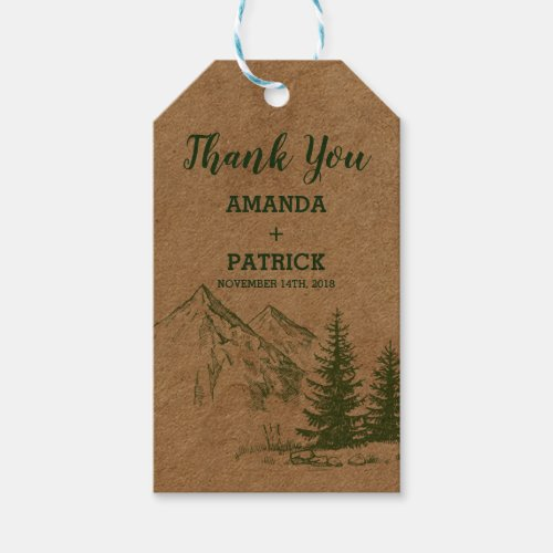 Rustic Scenic Mountain wedding Gift Tags
