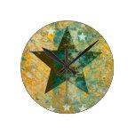 Rustic Star Round Clocks