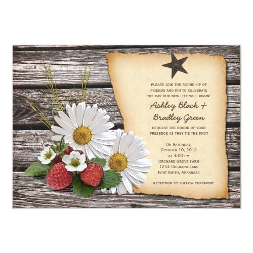 Rustic Strawberry Daisy Wedding Invitation by Wasootch