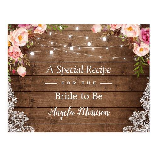 Rustic String Lights Lace Floral Bridal Recipe Postcard