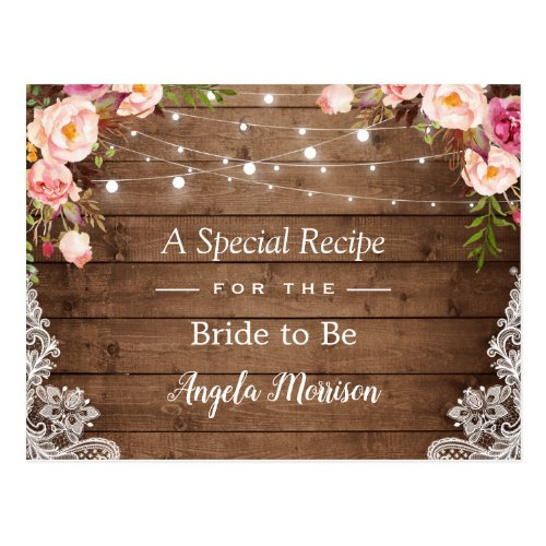 Rustic String Lights Lace Floral Bridal Recipe Postcard