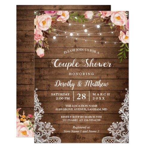 Rustic String Lights Lace Floral Couple&#39&#x3B;s Shower Invitation