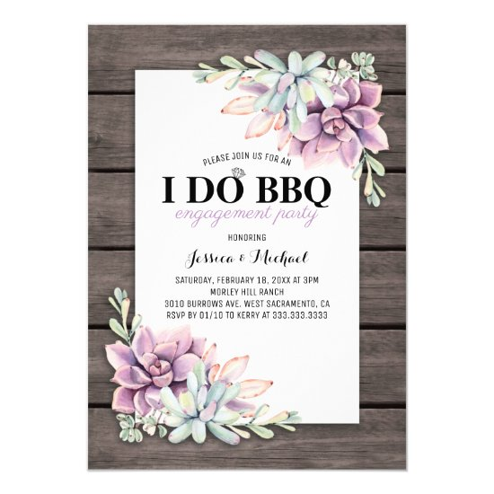 Rustic Succulent I Do BBQ Engagement Party Invitation