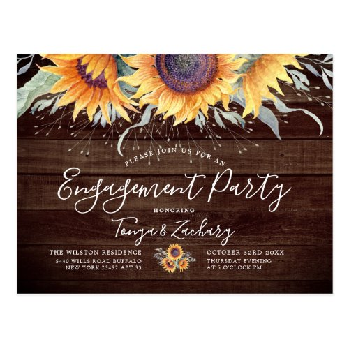 Rustic Sunflower Bloom | Engagement Party Invite