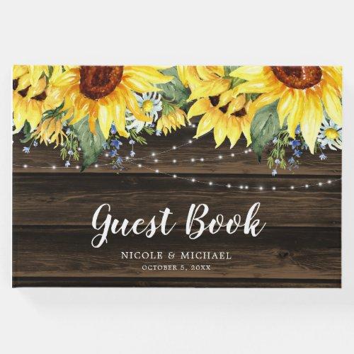 Rustic Sunflower Floral String Lights Wedding Guest Book