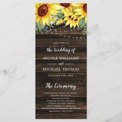 Rustic Sunflower Floral String Lights Wedding Program