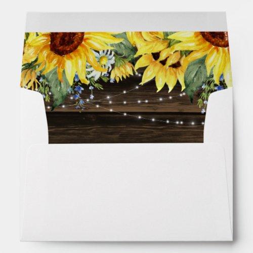 Rustic Sunflower Floral String Lights White Envelope